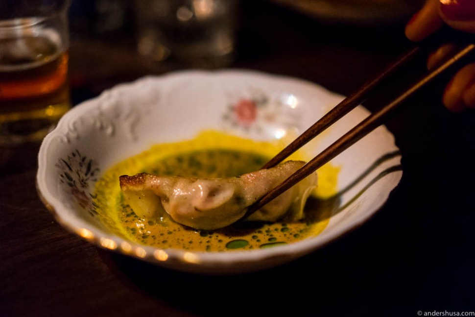 Late night snack: gyoza in curry sauce