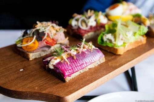Red beet herring, fresh cheese, crispy buckwheat & dill on sourdough