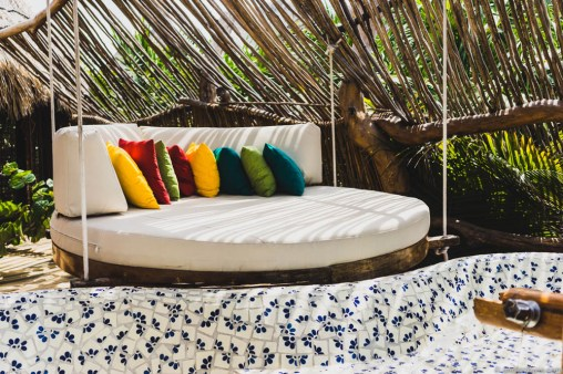 Each terrace is equipped with one of these hammock beds