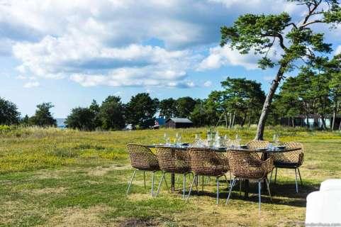 Table set for a dinner at Djupvik Resort's restaurant