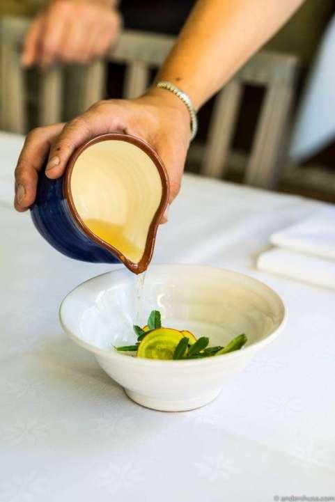 Seasonal vegetables in dashi