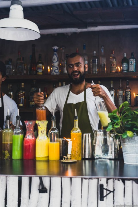 Mixing cocktails with fresh ingredients