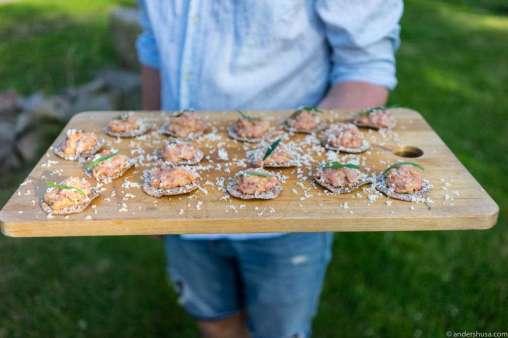 Smoked tartar of veal, Olof Viktor rye flatbread, and horseradish shavings