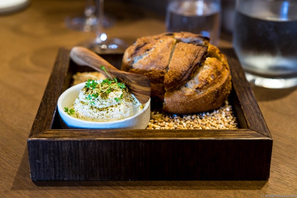 The bread serving. Amazing whipped butter with browned butter, sherry vinegar & shallots.
