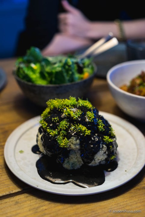 Cauliflower with a butter and squid ink sauce & fennel flowers
