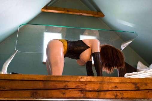One of the half-naked women-tables of artist Allen Jones