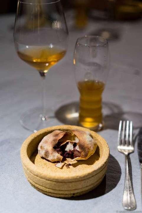 Paški Sir (Pag island cheese), elderberries & mustard seeds in a crunchy bread