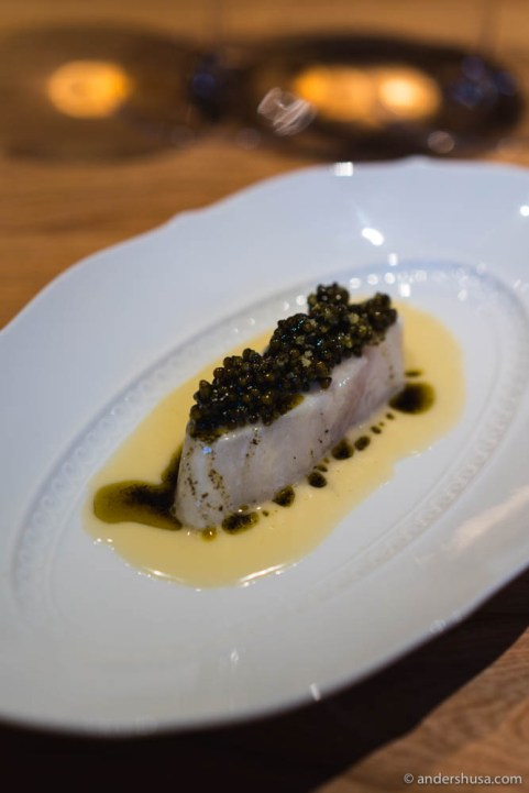 "Baked wild turbot, juice of fermented white asparagus, Frantzén ""reserve caviar,"" & browned butter with roasted seaweed"