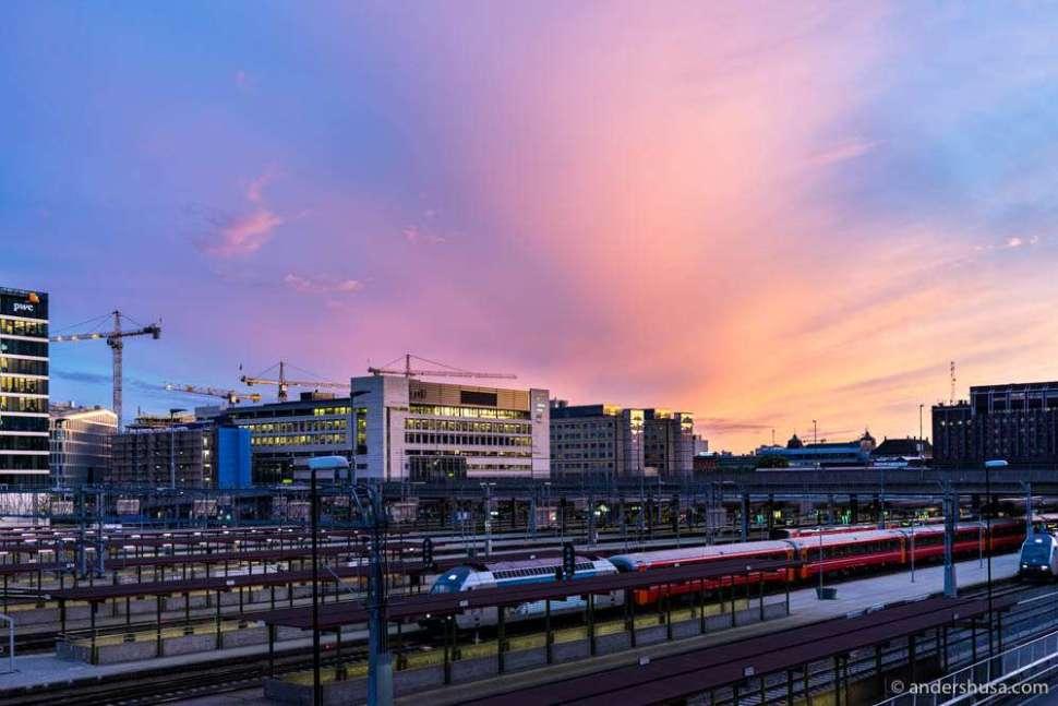 Sunset on Bjørvika and Oslo central train station.