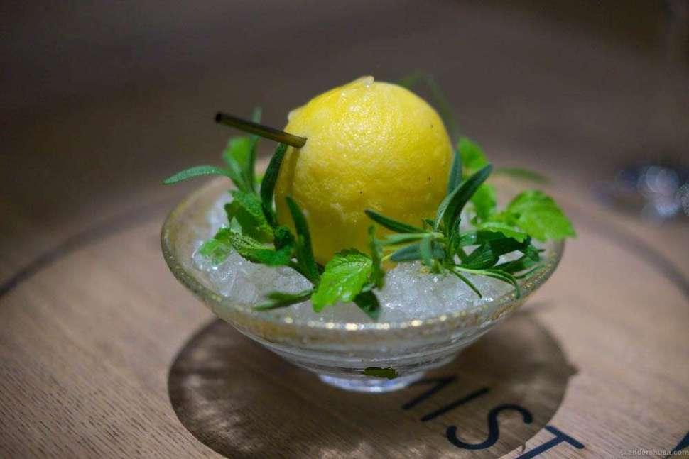 Lemon juice, hay oil, lemon verbena, and geranium gin