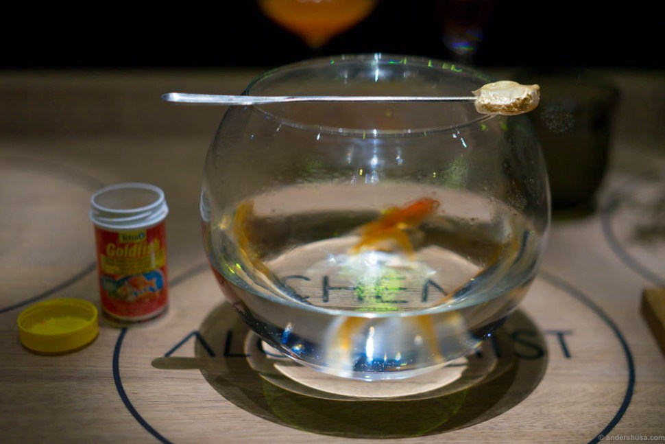 Gold fish. In reality, hake with bakskuld powder (Danish dried and smoked fish) and gold leaves