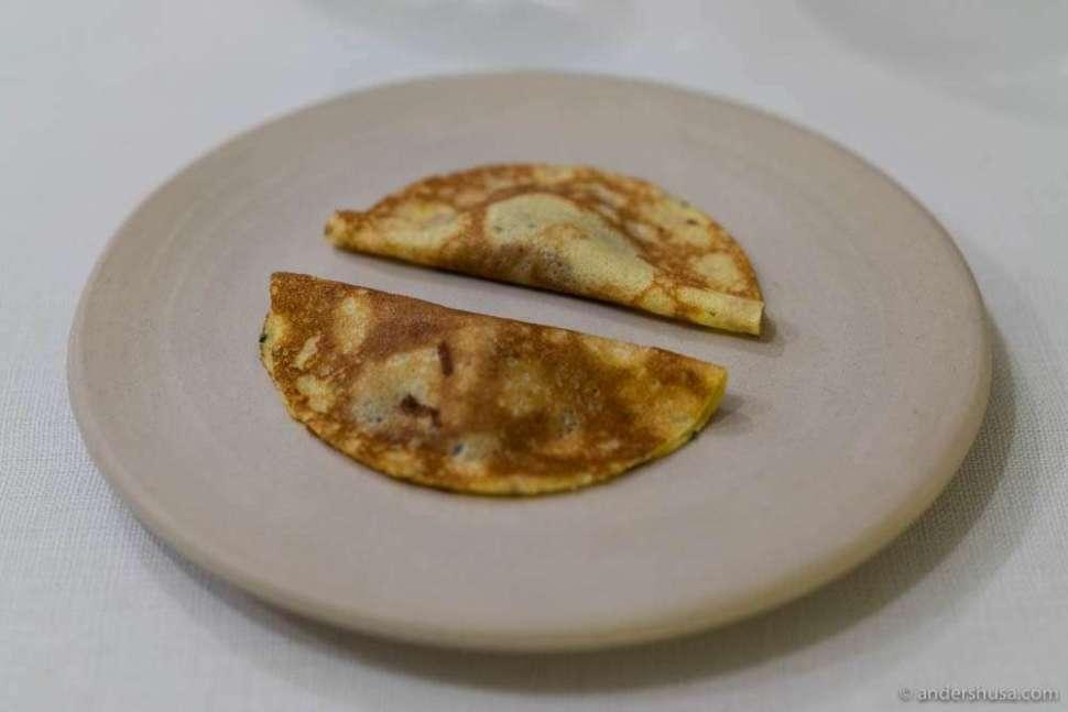 Pancakes with the pigeon innards & cherry chutney