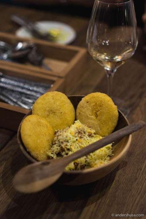 Arepas! Venezuelan Arepa Peluda – corn breads with pulled beef & cheddar
