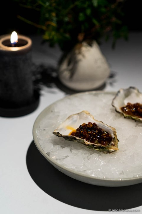 Oyster with Henne charcuterie relish by Paul Cunningham