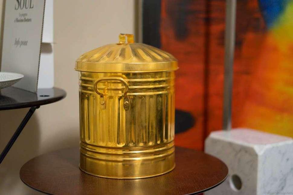 The golden trashcan