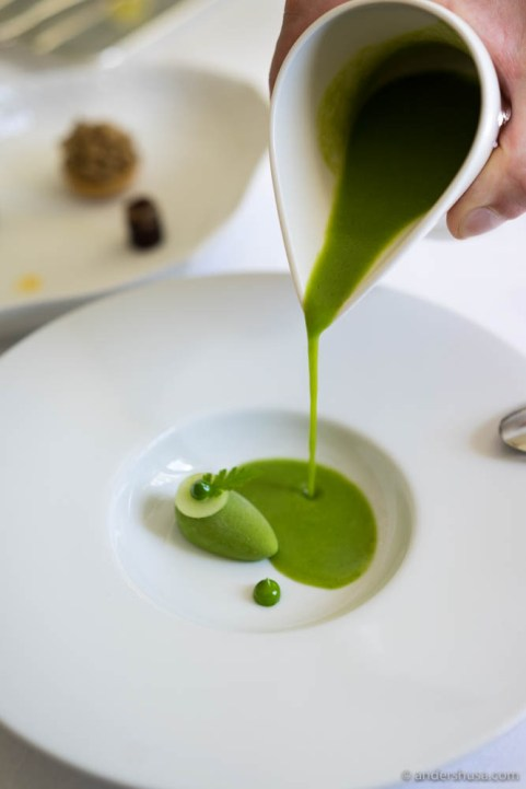 Green gazpacho, with parsley & cress ice cream