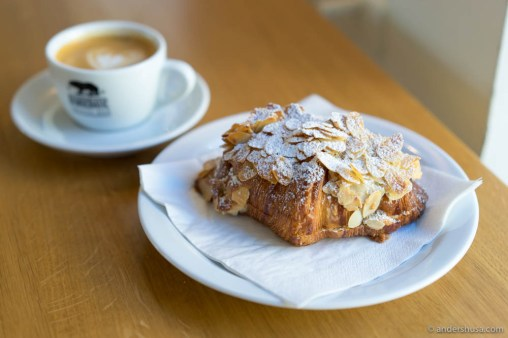 The almond croissant at Democratic Coffee