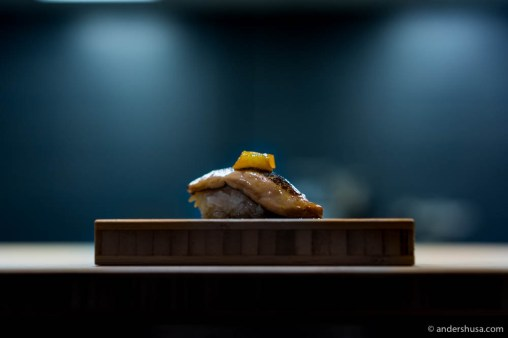 Foie gras with pickled kumquat & teriyaki