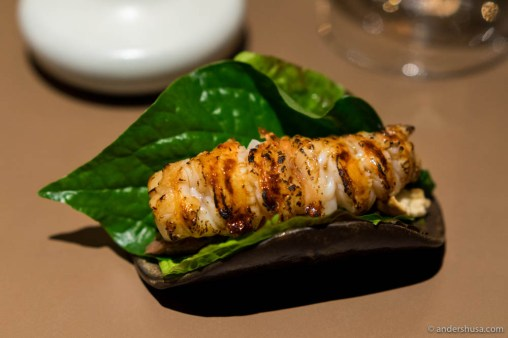 Caramelized langoustine taco! With grilled lardo, ginger, spring onion & roasted corn