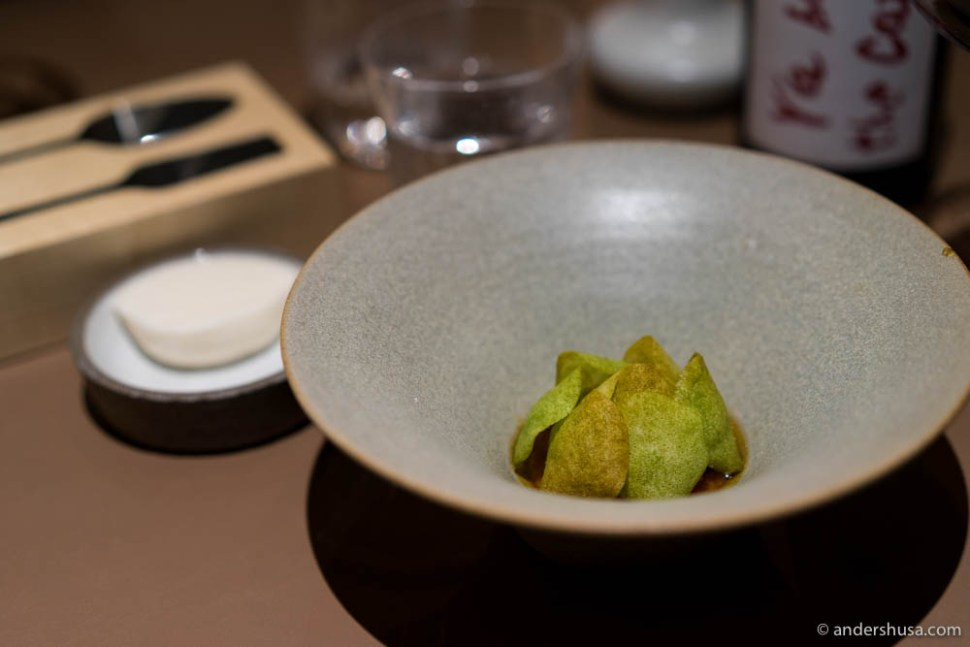 """The Artichoke – Warm cake of artichoke and almond, brown butter, maple syrup, bay leaf ice cream and crispy """"artichoke leaves"""" made of almond."""