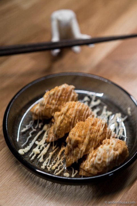 Crispy kimchi dumplings