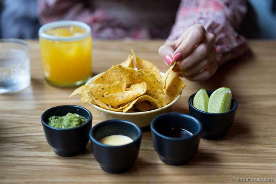 Table snacks. Tortilla crisps & salsas
