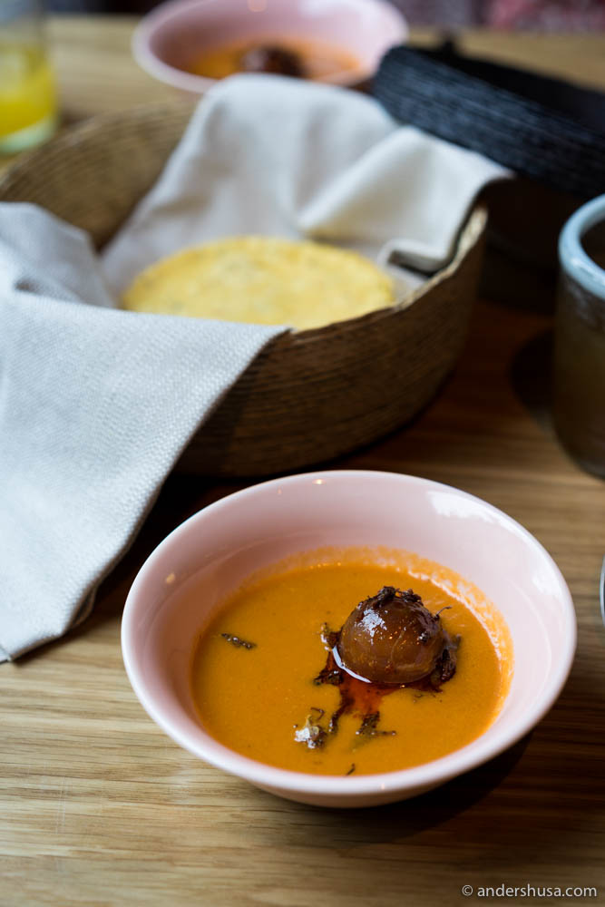 Spicy tomato soup with cured egg yolk & chapulines (grasshoppers)