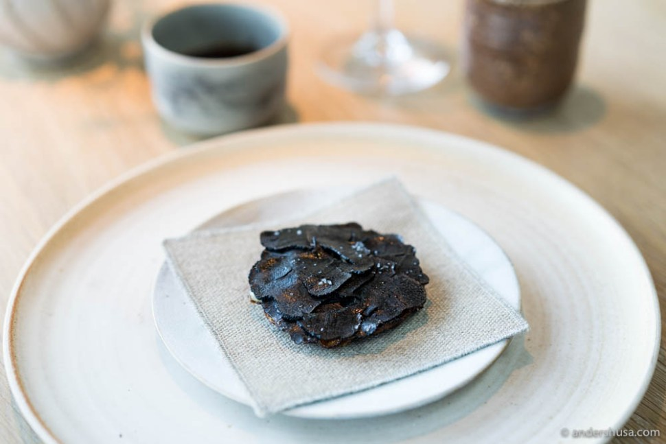 Milk skin and truffle: Fried milk skin filled with fresh cheese with truffles