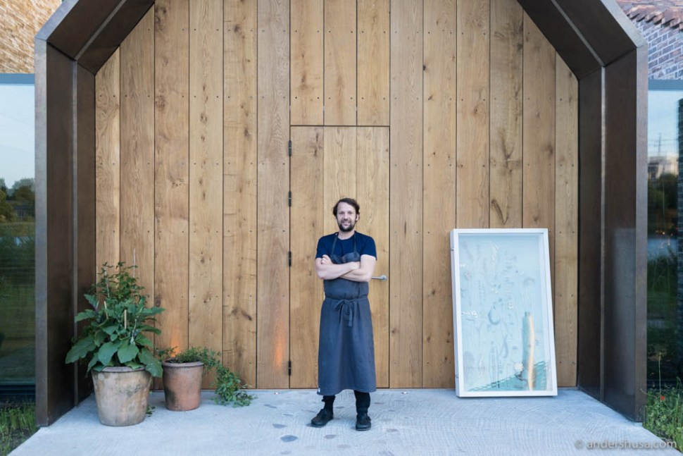 René Redzepi in front of the entrance to Noma.