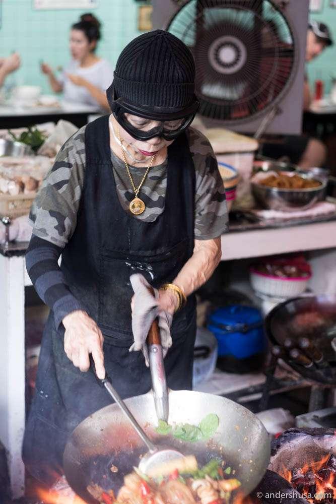 Supinya Junsuta, as her real name is, cooking up some drunken noodles!