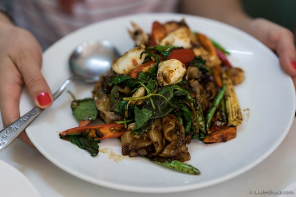 Drunken noodles (Phad-Kee-Mao Talay) at Raan Jay Fai