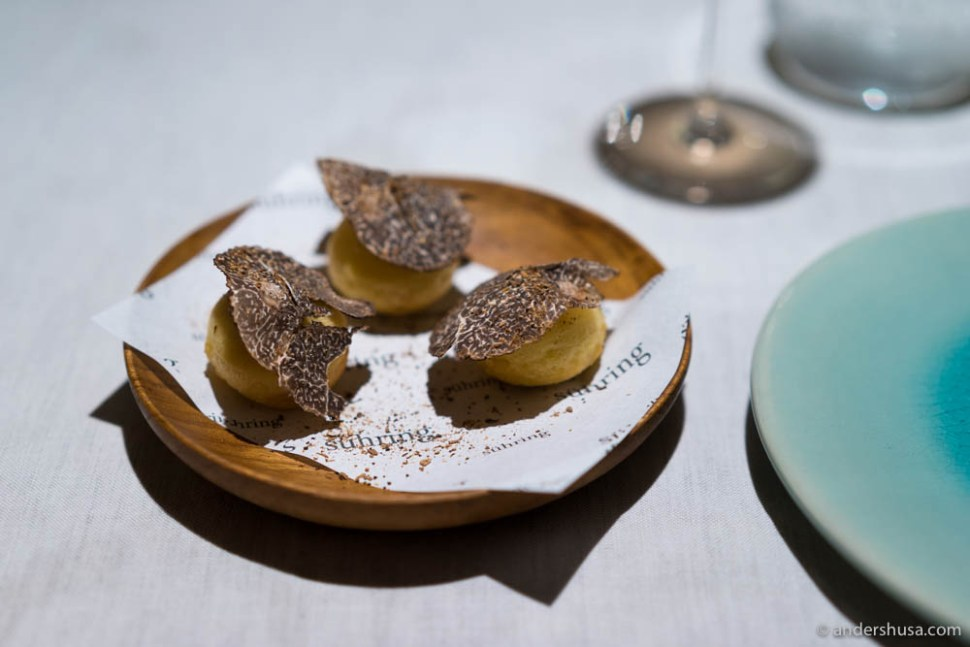 Savory Berliner Pfannkuchen filled and topped with truffle
