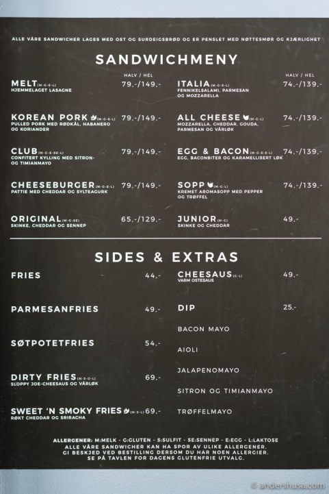 The menu at Melt