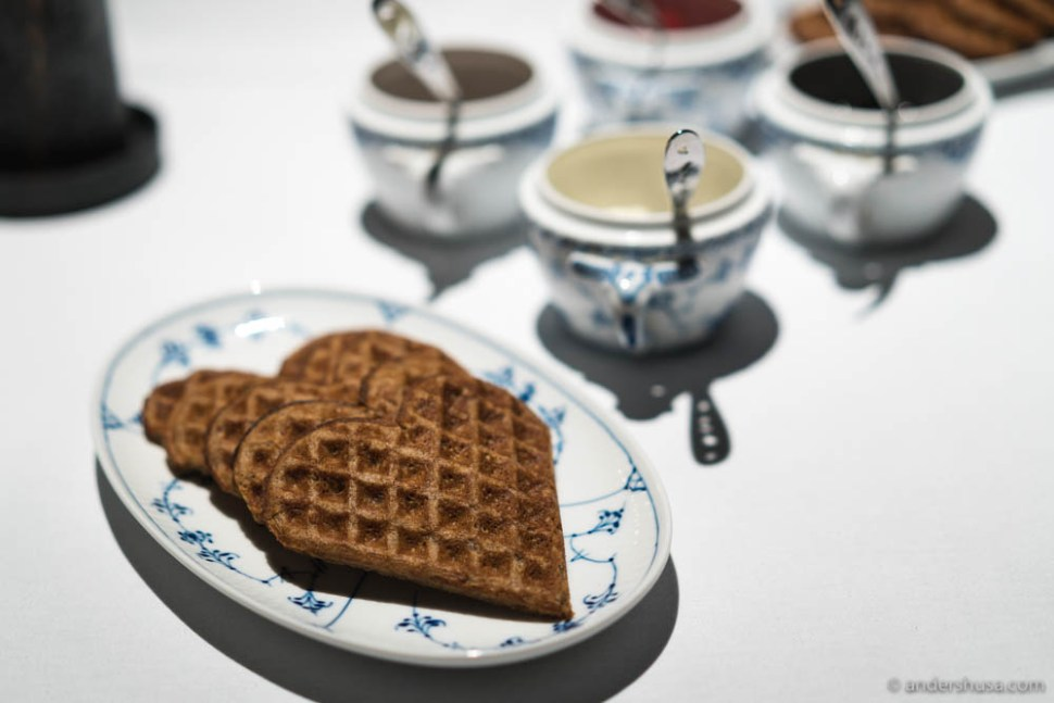 Warm waffles from buckwheat-koji fried in dry-aged wagyu fat from Anni's Pølsemakeri, brown cheese & forest berries.