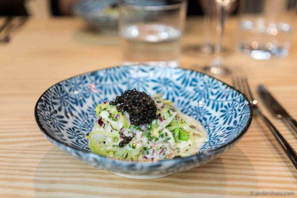 Grilled turbot, creamy sauce, chopped salad & caviar