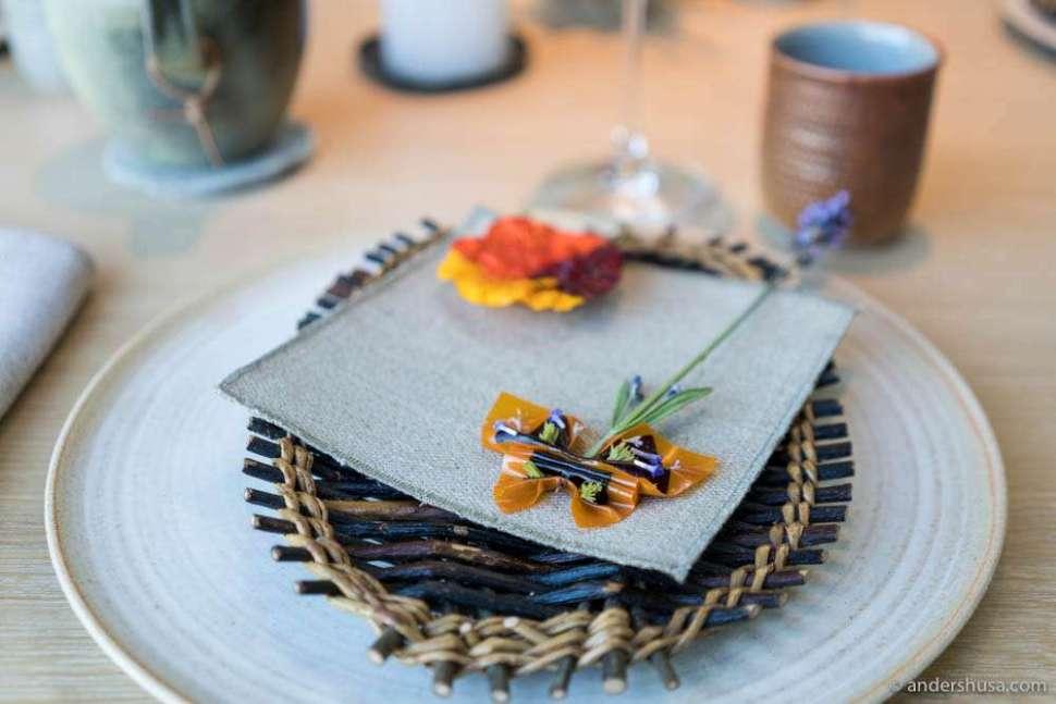 Nasturtium tart and sea buckthorn & blackcurrant butterfly