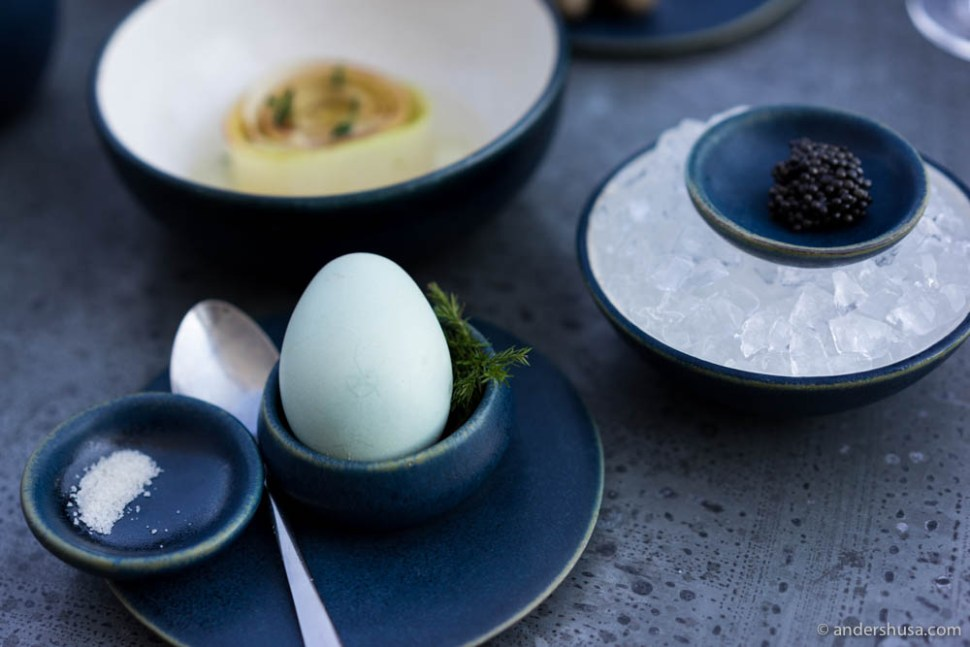 Golden egg with caviar