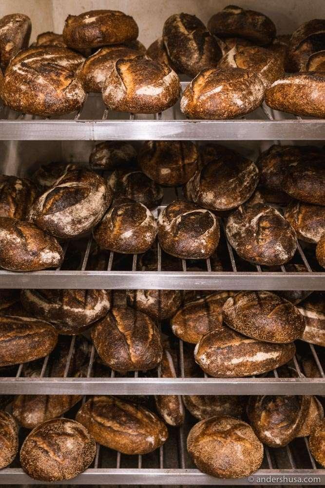 Piles of sourdough bread.