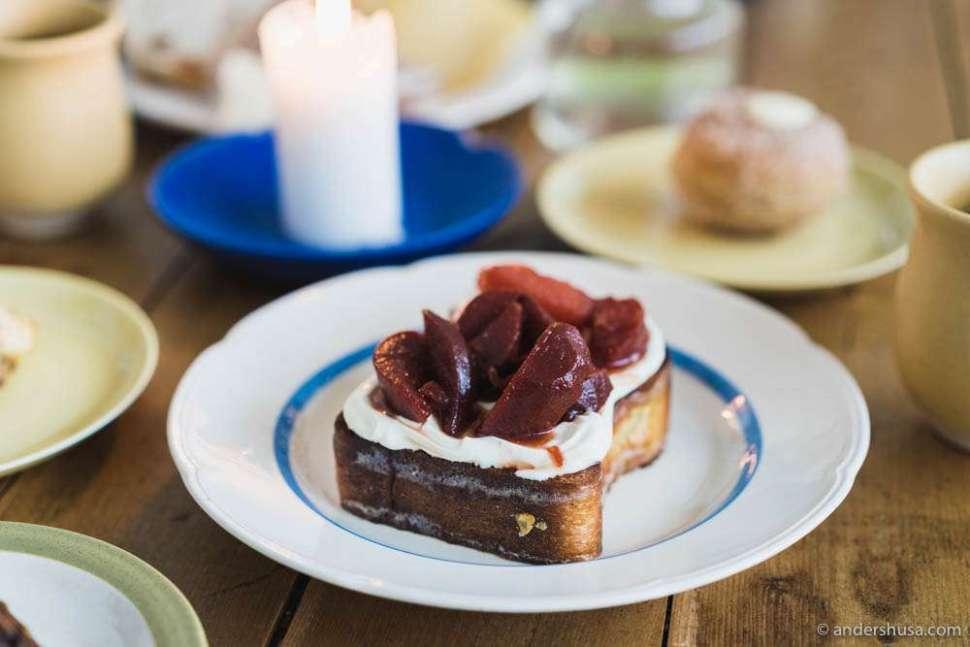 Brioche with mascarpone cream and pickled plums.