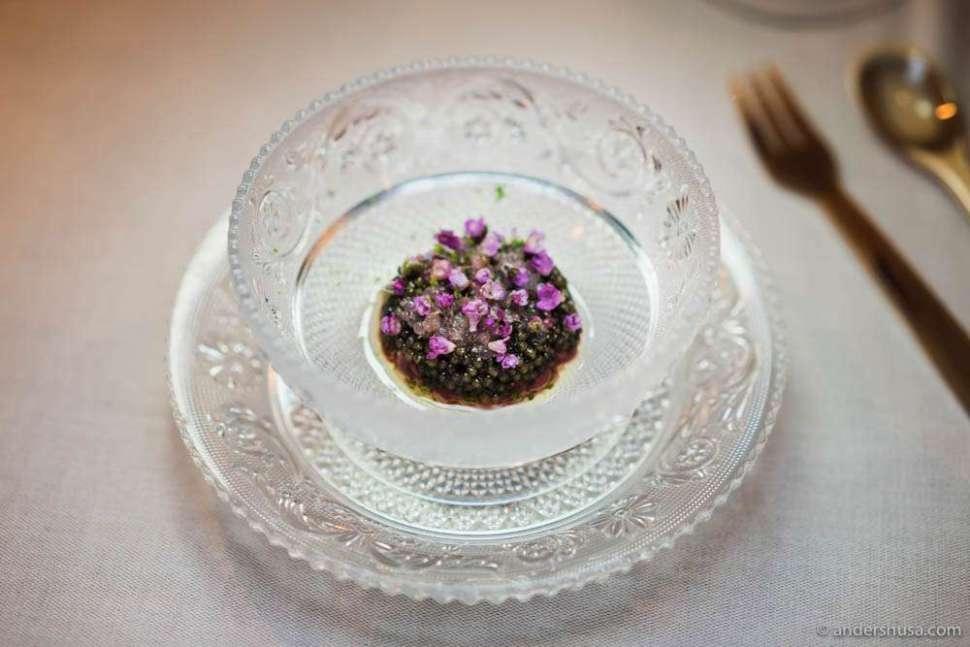 Red deer tartar with argan oil, finger lime, and Zén prestige caviar at no. 8 – Zén in Singapore.