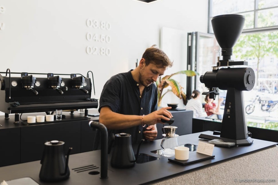 Owner Linus Köster is a passionate barista and coffee geek