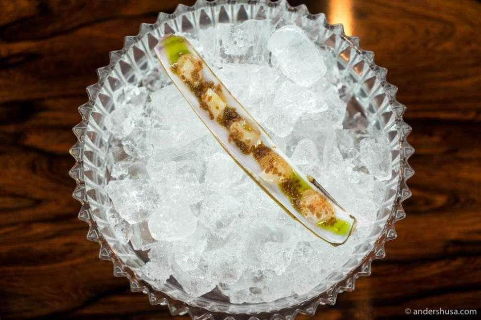 Razor clams on the menu at Credo in Trondheim.