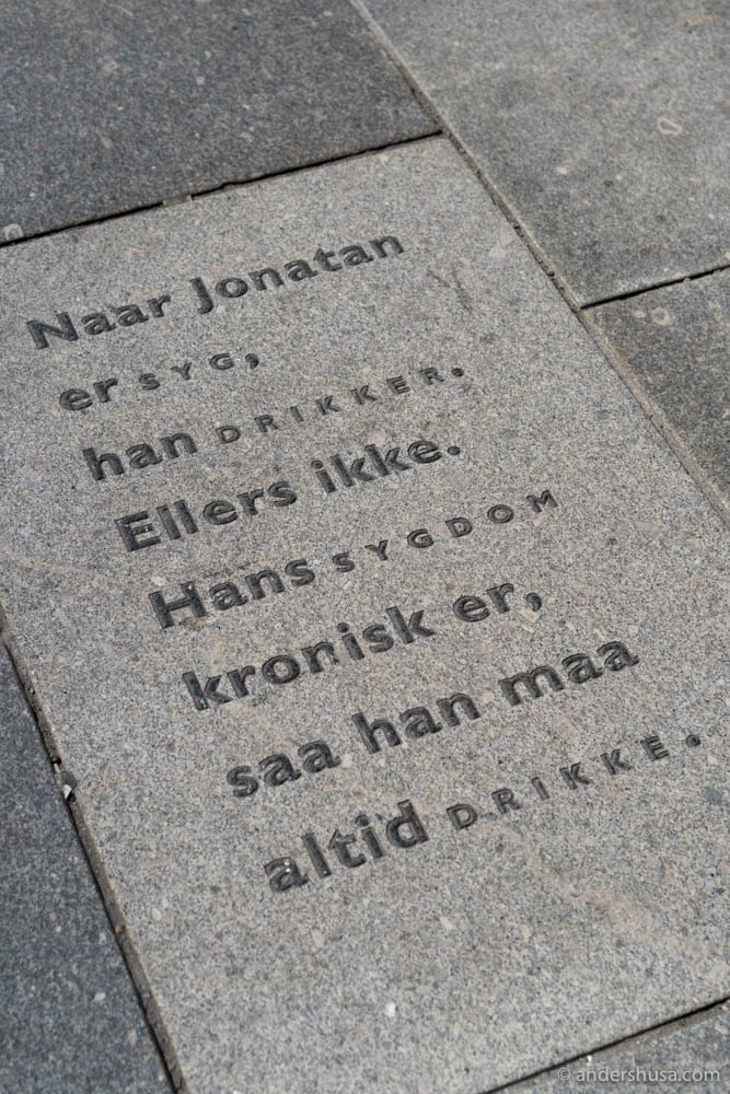 I love this quote on the streets outside Restaurant Bare Vestland