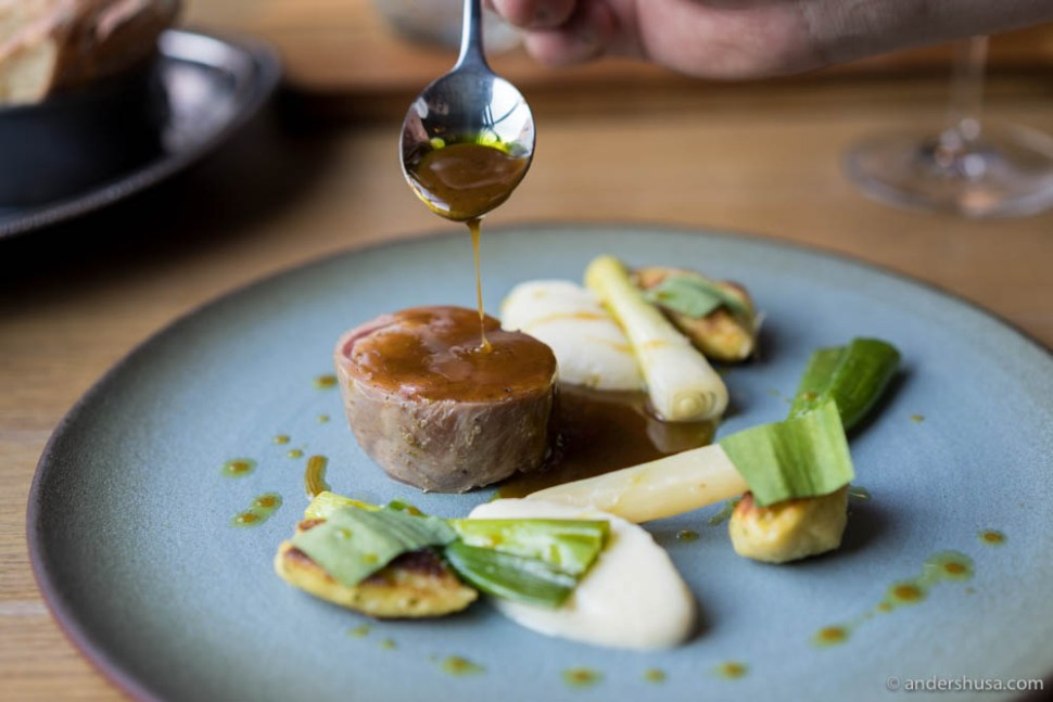 Goat kid, parsley root purée, potato gnocchi, ramson, spring onions & goat jus with ramson oil
