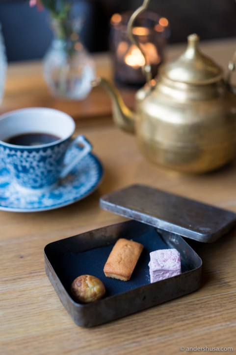 Petits fours – choux pastry filled with chocolate & olive cream, almond financier & raspberry marshmallow