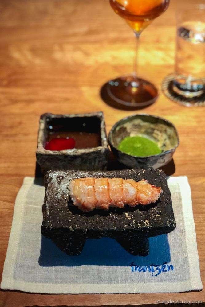 Langoustine tail, crispy Koshihikari rice, clarified butter & ginger emulsion. Photo: Kaitlin Orr