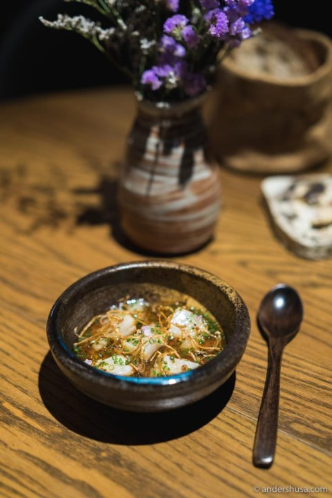 Hokkaido scallops, onion custard, mushroom dashi & enoki mushrooms.