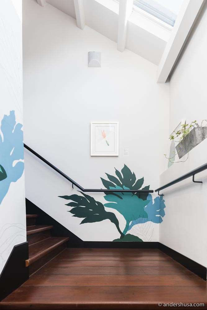 Stairs up to the second floor of KēSa House