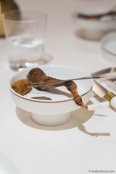 Pigeon leg and a croquette of the rest of the meat.