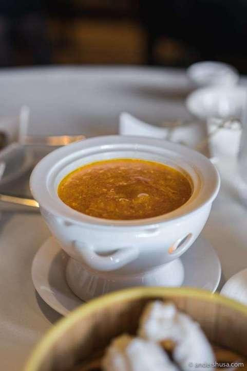 Foie gras chawanmushi with crab roe soup.